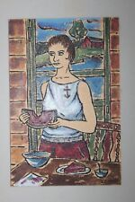 Encaustic art by L.J. Miller (1912-2007) Woman with Anchor