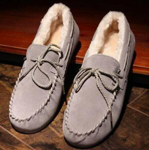 Mens Suede Leather Moccasin Slippers Loafers Winter Quilted Warm Casual Shoes