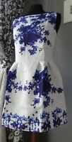 Abito corto mini vestito S/M fantasia floreale stampa cocktail cerimonia dress