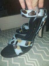 GIANNI BINI Calf Hair Blue Leopard Print Sandals: Size 8.5