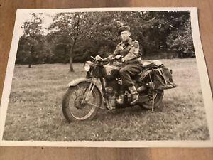 WWII Era B/W Photo Postcard British Soldier On Motorcycle