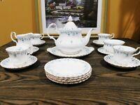 Royal Albert Bone China Memory Lane Tea Pot, Platter, Cups, Saucers, Plates Set