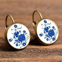 Jewelry China Style Flower Elegant Round Hoop Earrings Vintage Earrings