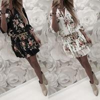 ❤️Womens Boho Floral Mini Swing Dress Summer Holiday Beach Ruffle Frill Sundress