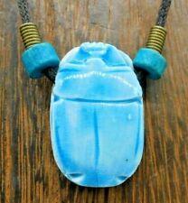 "Egyptian Revival Ceramic Pottery Scarab Blue Glaze on Cord Choker 17"" Necklace"