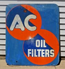 Vintage 1952 2X Side AC Spark Plugs / Oil Filters Gas Oil Advertising Sign 42x36