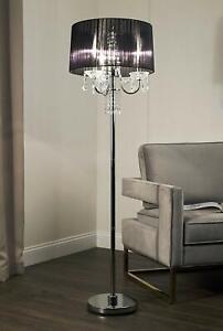 Modern Elegant Crystal Drop Black Shade with Metal Base Floor Lamp 59.75''H