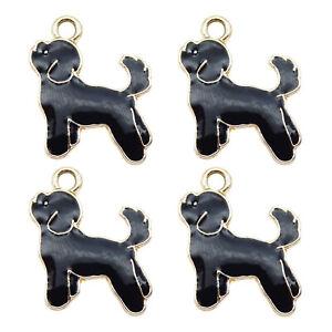 16 pcs Black Enamel Cute Poodle Dog Charm Metal Gold Pendant Findings 19x16mm