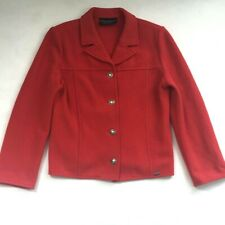 Giesswein Jacket Vintage Womens Sz 38 US 8 Military Button Front Merino Wool Red