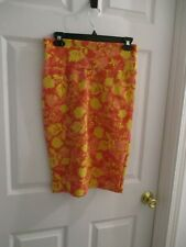 LulaRoe  Cassie Pencil Skirt Orange Yellow Floral Print Womens S