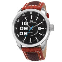 Men's Joshua & Sons JX106BR Quartz Movement Date Genuine Leather Strap Watch