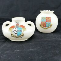 VINTAGE CRESTED WARE A&S ARCADIAN CHINA VASES X 2 PIECES