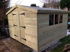 GARDEN SHED TANALISED SUPER HEAVY DUTY 10X10 APEX 19MM T&G.  3X2.
