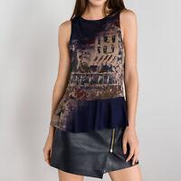 Desigual TS PRISCILA Dark Blue Sleeveless T Shirt Top Blouse Size S M