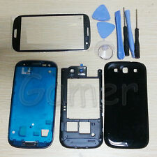 Full Housing Case Glass Lens For Samsung Galaxy S3 ATT I747 T-mobile T999 Black