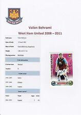 VALON BEHRAMI West Ham Utd 2008-2011 mano originale firmato TOPPS CARD