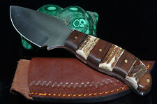 """7.25"""" hand made STAINLESS STEEL blade Stag & wood Handle hunting Knife w/Sheath"""