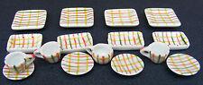 1:12 Scale 16 Piece Checked Pattern Ceramic Tea Set Dolls House Miniature TS23
