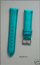 16mm Metallic TURQUOISE Genuine Leather watch Band Strap Interchangeable EZ-Pin