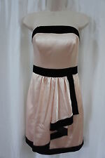 M60 Miss Sixty Dress Sz 10 Petal Pink Black Trim Strapless Cocktail Formal Dress