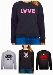 Ladies Disney Jumper Plus Size 34/36 38/40 Mickey Sweatshirt Black Minnie Top