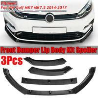 3PCS Carbon Look Front Bumper Lip Spoiler Splitter For 14-17 VW Golf MK7