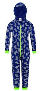 Boys Game Controller Blue Green Sleepsuit Gamer All In One Cotton