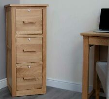 Arden solid oak office computer furniture three drawer lockable filing cabinet