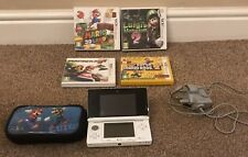 Nintendo 3DS Ice White with 4 games in their boxes, charger and case.