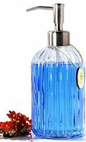 Glass Soap Dispenser with Rust Proof Stainless Steel Pump Refillable Liquid H...