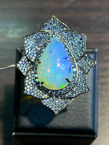 NATURAL LOW FIRE OPAL 19X13 SAPPHIRE DIAMOND CUT STERLING SILVER 925 RING