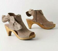 ANTHROPOLOGIE TAUPE TIED BOOTIES CUTOUT CLOG HEEL MISS ALBRIGHT SHOES 7