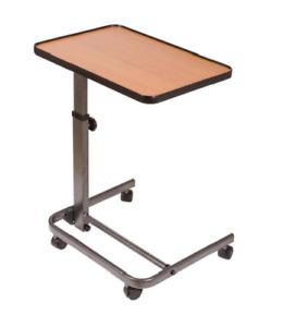 Over Bed Table, Adjustable Hospital Tray, Bedside Rolling Wheels, Overbed Side