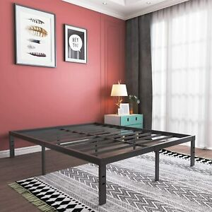 16 inch Tall Metal Platform Bed Frame Steel Slat TwinXL Full Queen King Size Bed