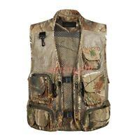 Summer Mens Outwear Vest Pockets Photographer Camouflage Waistcoat Mesh Coat