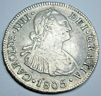 1805 Peru Silver 2 Reales Genuine Antique 1800's Spanish Colonial Two Bits Coin