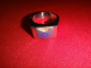USAF Air Force TECHNICAL SERGEANT Silver Tone Stainless Steel Ring