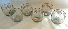 VTG 1960's or 1980's gold roly poly Whiskey Glasses Roman Coins 8 oz Set of 6