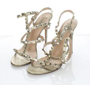 J41 $1070 Women's Sz 41 M Valentino Rockstud Metallic Leather Ankle Strap Sandal