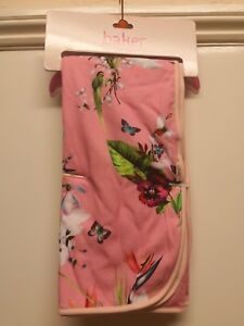 BNWT BAKER BY TED BAKER PINK OASIS BIRD, BUTTERFLY & FLORAL PRINT BLANKET
