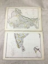 Antique Map of India Indian Continent Old Hand Coloured 19th Century Original