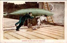 Vintage Postcard -Japanese Soldiers Handling Torpedos