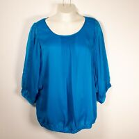 The Limited Women's L Blue 3/4 Sleeve Tunic Blouse Polyester