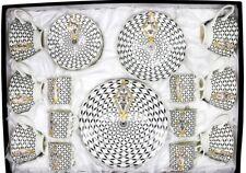30 Piece Bone China Hospitality Set Tea, Coffee and Dessert Royal Flower Pattern