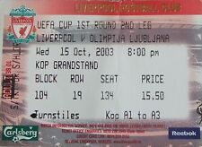 Liverpool Football European Club Fixture Tickets & Stubs