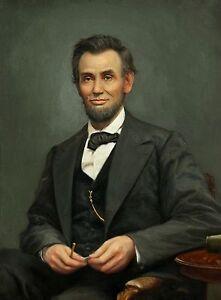 LINCOLN PRESIDENT  USA vintage portrait print painting art old