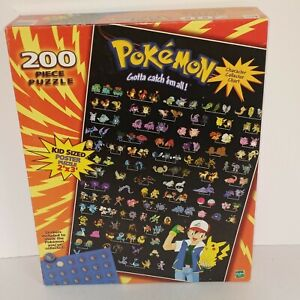 BRAND NEW VINTAGE 1999 HASBRO 200 PIECE POKÉMON PUZZLE CHARACTER COLLECTOR CHART