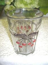 Antique Jam Jelly Glass Jar with Etched and Design of Cherries in Relief