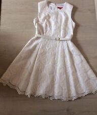 DERHY Kleid mit Transparentem Stoff und Stickereien Weiß,Gr.M gefüttert