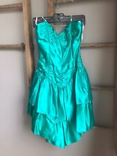 Vtg 80s Green Ruffle Strapless Prom Dress Bow Rayon Party Ruffle Sz 9-10
